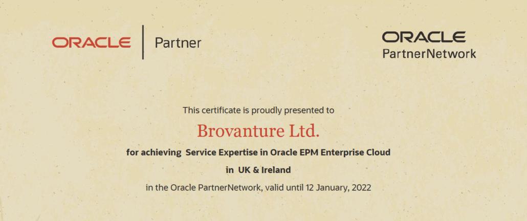 Brovantute Oracle Partner certificate