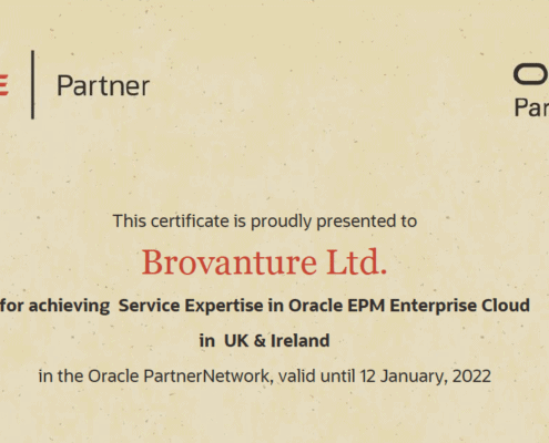 Brovantute Oracle Partner certificate