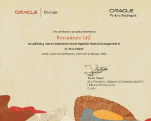 Oracl;e Hyperion HFM Certificate